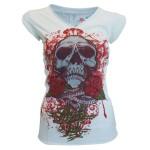 T-shirt Miami Ink - White Skull - Femme