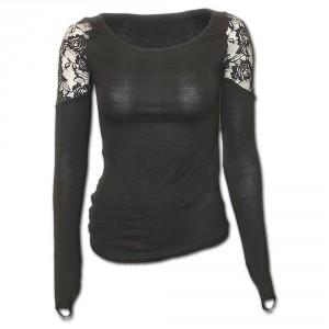 T-shirt Manches Longues Spiral - Gothic Elegance Finger Loop - Femme