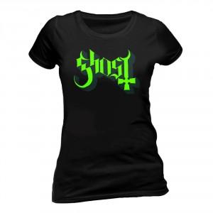 T-shirt Ghost - Logo Green - Femme