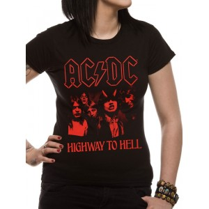 T-shirt AC/DC - Highway To Hell Red - Femme