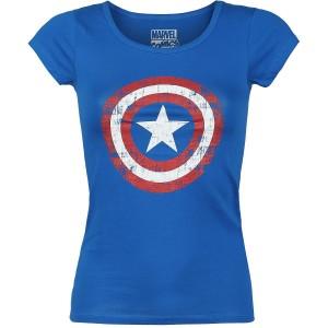 T-shirt Captain America- Logo Grunge - Femme