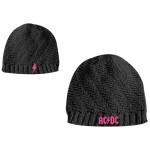Bonnet AC/DC Femme - Noir Logo Rose